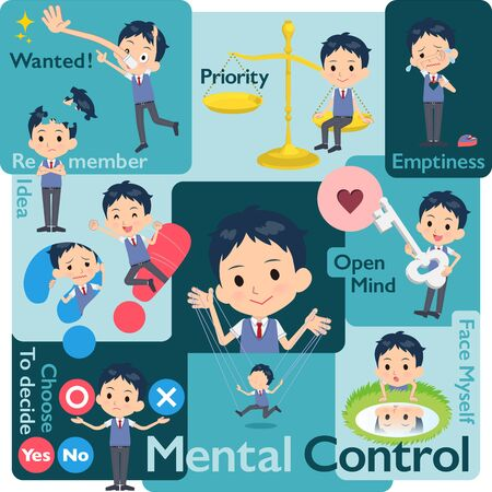 A set of school boy who control emotions.A variety of image illustrations expressing self emotion.It's vector art so it's easy to edit.  イラスト・ベクター素材
