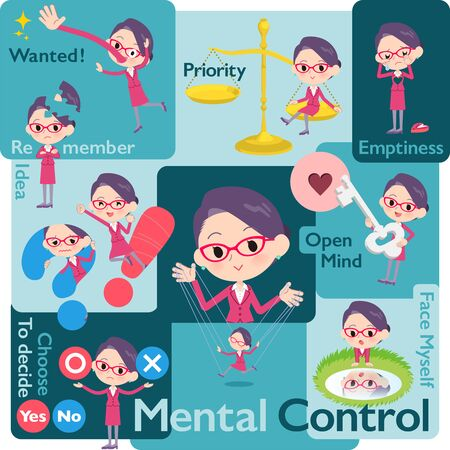 A set of women who control emotions.A variety of image illustrations expressing self emotion.It's vector art so it's easy to edit. Illustration