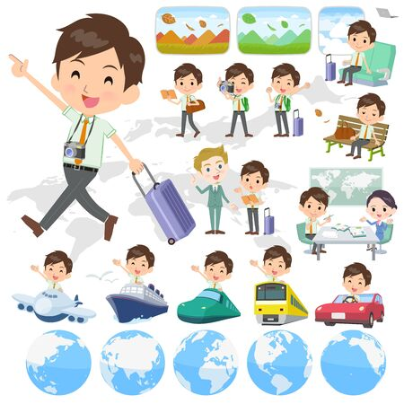 A set of school boy on travel.There are also vehicles such as boats and airplanes.It's vector art so it's easy to edit. Illustration