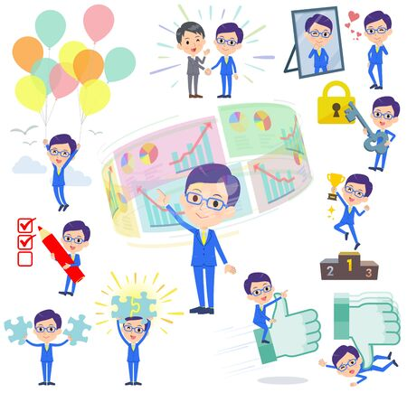 A set of men on success and positive.There are actions on business and solution as well.It's vector art so it's easy to edit. Illustration