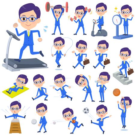 A set of men on exercise and sports.There are various actions to move the body healthy.It's vector art so it's easy to edit.