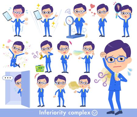 A set of men on inferiority complex.There are actions suffering from smell and appearance.It's vector art so it's easy to edit.