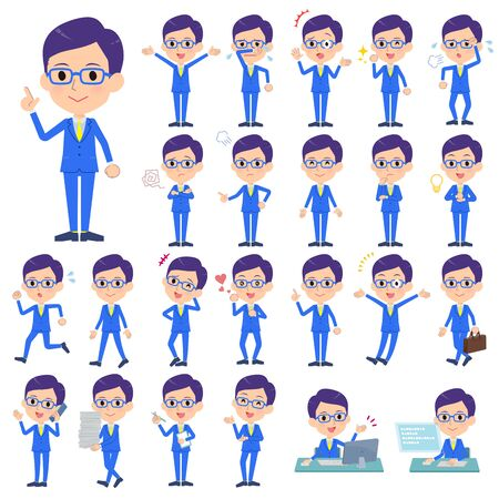 A set of men with who express various emotions.There are actions related to workplaces and personal computers.It's vector art so it's easy to edit.