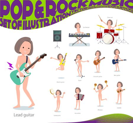A set of Nude women playing rock n roll and pop music.There are also various instruments such as ukulele and tambourine.Its vector art so its easy to edit.