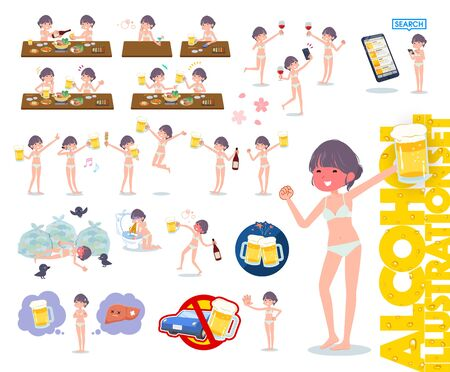 A set of women in underwear related to alcohol.There is a lively appearance and action that expresses failure about alcohol.Its vector art so its easy to edit.