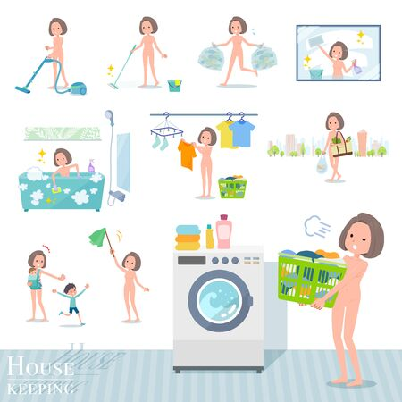 A set of Nude women related to housekeeping such as cleaning and laundry.There are various actions such as child rearing.Its vector art so its easy to edit.