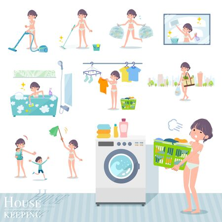 A set of women in underwear related to housekeeping such as cleaning and laundry.There are various actions such as child rearing.It's vector art so it's easy to edit. 写真素材 - 143366063