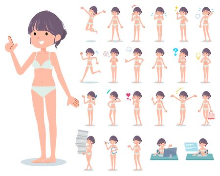 A set of women in underwear with who express various emotions.There are actions related to workplaces and personal computers.It's vector art so it's easy to edit. 写真素材 - 143366065