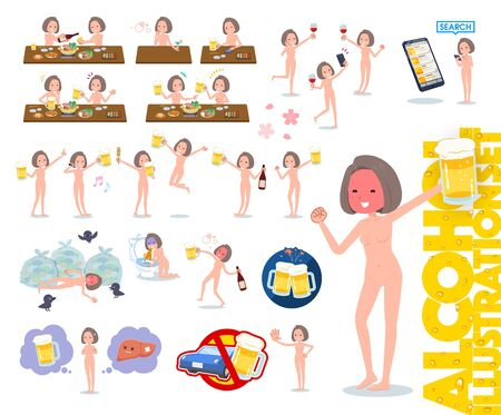 A set of Nude women related to alcohol.There is a lively appearance and action that expresses failure about alcohol.It's vector art so it's easy to edit. 写真素材 - 143366064