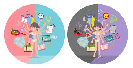 A set of women in underwear who perform multitasking in offices and private.There are things to do smoothly and a pattern that is in a panic.Its vector art so its easy to edit.