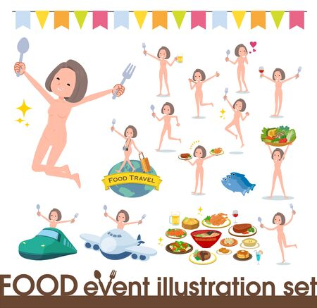 A set of Nude women on food events.There are actions that have a fork and a spoon and are having fun.It's vector art so it's easy to edit. 写真素材 - 143366067