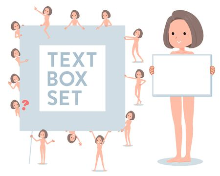 A set of Nude women with a message board.Since each is divided, you can move it freely.It's vector art so it's easy to edit.
