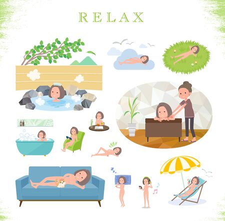 A set of Nude women about relaxing.There are actions such as vacation and stress relief.Its vector art so its easy to edit.