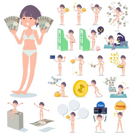 A set of women in underwear with concerning money and economy.There are also actions on success and failure.Its vector art so its easy to edit.