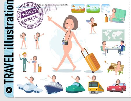 A set of Nude women on travel.There are also vehicles such as boats and airplanes.It's vector art so it's easy to edit. 写真素材 - 143366071