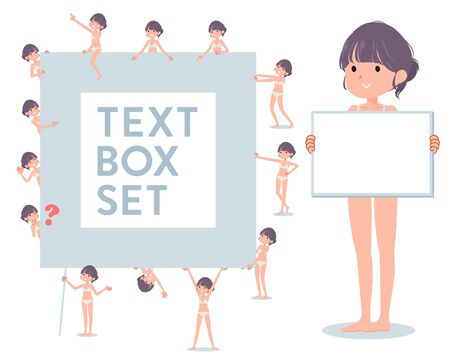 A set of women in underwear with a message board.Since each is divided, you can move it freely.It's vector art so it's easy to edit. 写真素材 - 143366102