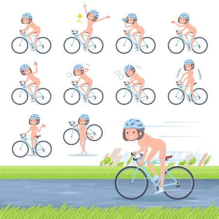 A set of Nude women on a road bike.There is an action that is enjoying.Its vector art so its easy to edit.