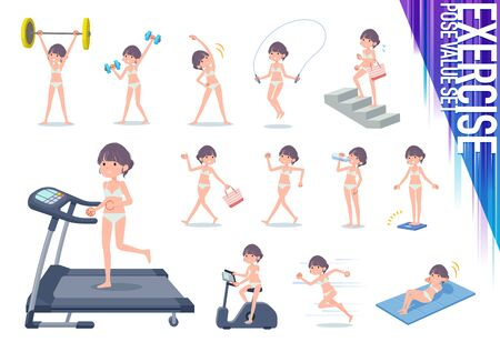 A set of women in underwear on exercise and sports.There are various actions to move the body healthy.Its vector art so its easy to edit.  イラスト・ベクター素材