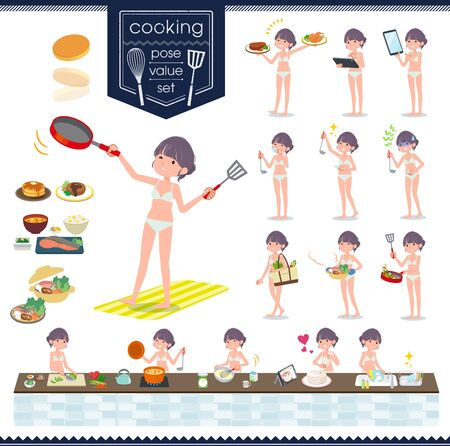 A set of women in underwear about cooking.There are actions that are cooking in various ways in the kitchen.It's vector art so it's easy to edit. Illustration