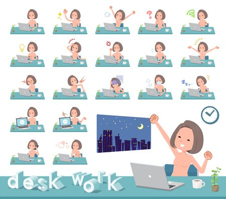 A set of Nude women on desk work.There are various actions such as feelings and fatigue.Its vector art so its easy to edit.