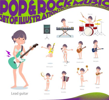 A set of women in underwear playing rock n roll and pop music.There are also various instruments such as ukulele and tambourine.Its vector art so its easy to edit.  イラスト・ベクター素材