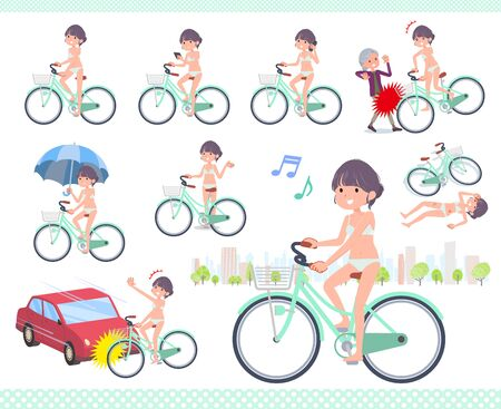 A set of women in underwear riding a city cycle.There are actions on manners and troubles.Its vector art so its easy to edit.