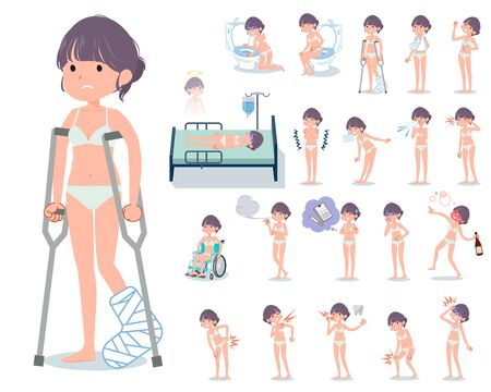 A set of women in underwear with injury and illness.There are actions that express dependence and death.Its vector art so its easy to edit.
