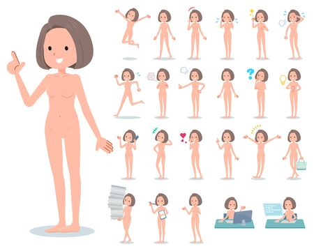 A set of Nude women with who express various emotions.There are actions related to workplaces and personal computers.It's vector art so it's easy to edit.