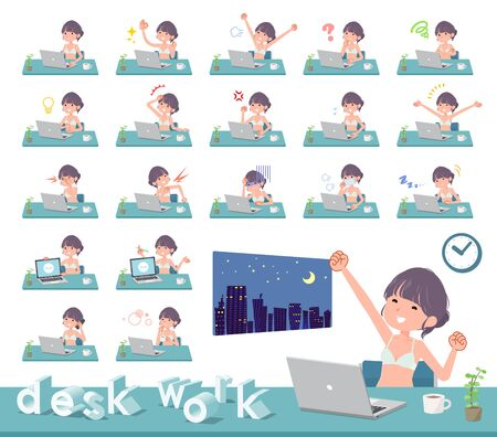 A set of women in underwear on desk work.There are various actions such as feelings and fatigue.Its vector art so its easy to edit.  イラスト・ベクター素材