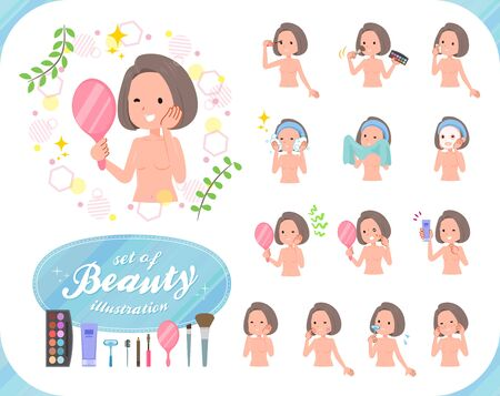 A set of Nude women on beauty.There are various actions such as skin care and makeup.Its vector art so its easy to edit.  イラスト・ベクター素材
