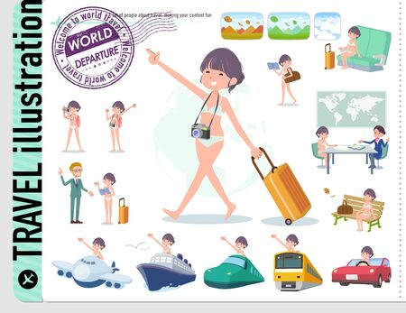 A set of women in underwear on travel.There are also vehicles such as boats and airplanes.Its vector art so its easy to edit.
