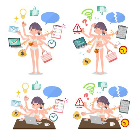 A set of women in underwear who perform multitasking in the office.There are things to do smoothly and a pattern that is in a panic.Its vector art so its easy to edit.
