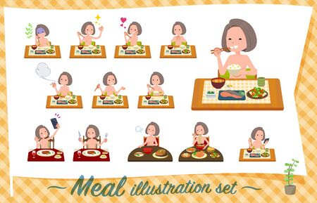 A set of Nude women about meals.Japanese and Chinese cuisine, Western style dishes and so on.It's vector art so it's easy to edit. 写真素材 - 143366134