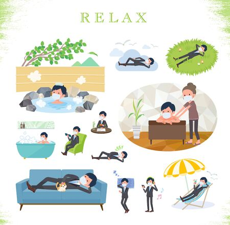 A set of businessman wearing mask about relaxing.There are actions such as vacation and stress relief.Its vector art so its easy to edit.
