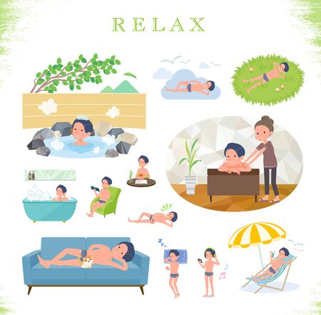 A set of men in underwear about relaxing.There are actions such as vacation and stress relief.Its vector art so its easy to edit.