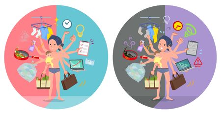 A set of men in underwear who perform multitasking in offices and private.There are things to do smoothly and a pattern that is in a panic.It's vector art so it's easy to edit.