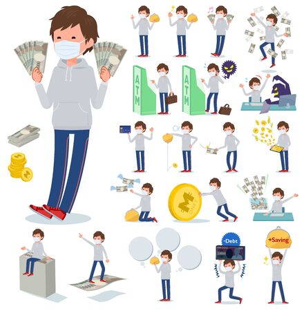 A set of sportswear men wearing mask with concerning money and economy.There are also actions on success and failure.It's vector art so it's easy to edit.
