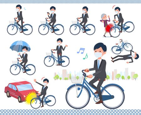 A set of businessman wearing mask riding a city cycle.There are actions on manners and troubles.It's vector art so it's easy to edit.