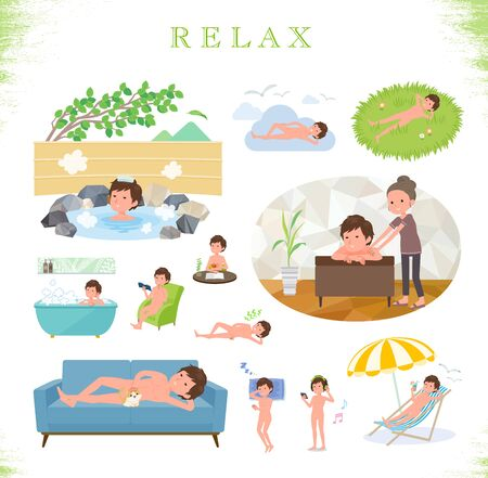 A set of Nude men about relaxing.There are actions such as vacation and stress relief.Its vector art so its easy to edit.