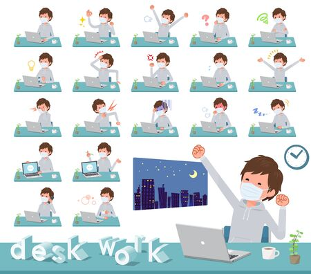 A set of sportswear men wearing mask on desk work.There are various actions such as feelings and fatigue.It's vector art so it's easy to edit.