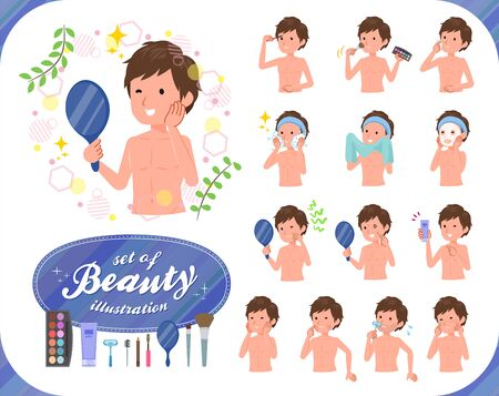 A set of Nude men on beauty.There are various actions such as skin care and makeup.Its vector art so its easy to edit.