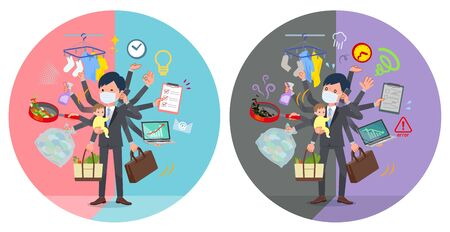 A set of businessman wearing mask who perform multitasking in offices and private.There are things to do smoothly and a pattern that is in a panic.It's vector art so it's easy to edit.