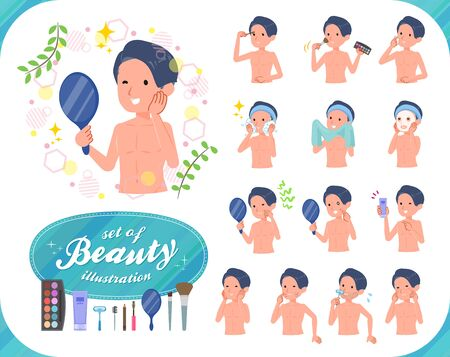 A set of men in underwear on beauty.There are various actions such as skin care and makeup.Its vector art so its easy to edit.