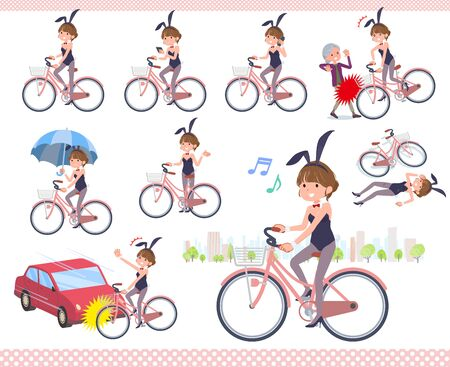 A set of bunny suit Women riding a city cycle.There are actions on manners and troubles.It's vector art so it's easy to edit.