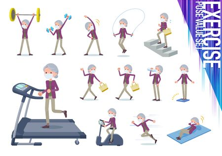 A set of old women wearing mask on exercise and sports.There are various actions to move the body healthy.It's vector art so it's easy to edit.