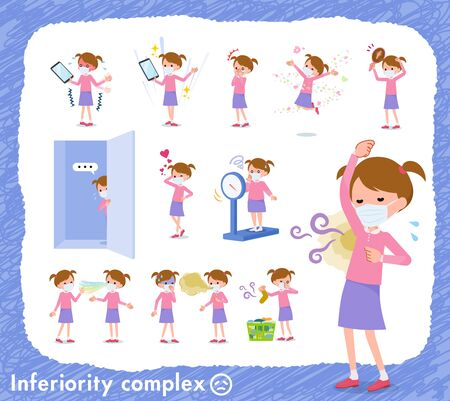 A set of girl wearing mask on inferiority complex.There are actions suffering from smell and appearance.It's vector art so it's easy to edit.