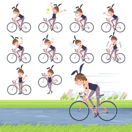 A set of bunny suit Women on a road bike.There is an action that is enjoying.It's vector art so it's easy to edit. Ilustração