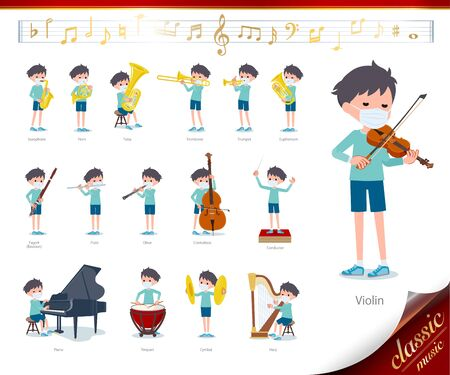 A set of boy wearing mask on classical music performances.There are actions to play various instruments such as string instruments and wind instruments.It's vector art so it's easy to edit. Vettoriali