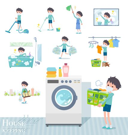 A set of boy wearing mask related to housekeeping such as cleaning and laundry.There are various actions such as child rearing.It's vector art so it's easy to edit. Ilustração