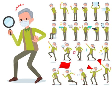 A set of old men wearing mask with digital equipment such as smartphones.There are actions that express emotions.It's vector art so it's easy to edit.